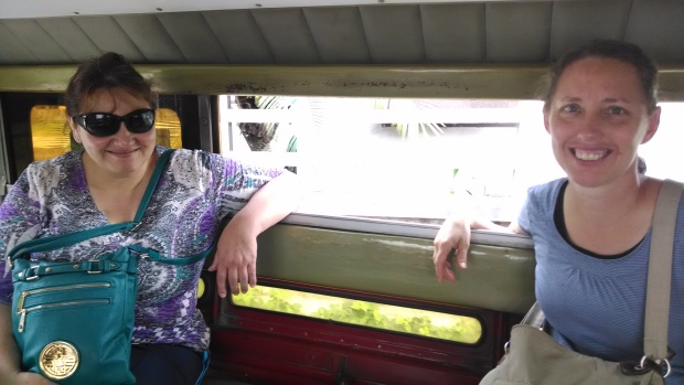 Riding in the public songthaew.